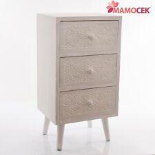 MOBILETTO Cassettiera Legno Bianco intagl. 3 cassetti 38x31 h73 Comodino Shabby