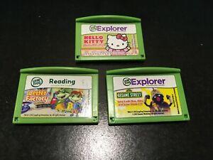 LEAPFROG LEAP FROG LEAP PAD LOT OF 3 GAMES SESAME STREET LETTER FACTORY HELLO KI