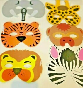 Party Masks, Pack of 6 Safari, Zoo, Wild Themed Birthday Party uk