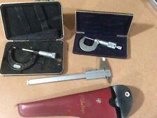 3 Precision Instruments Mitutoyo Micrometer And Gauge Starrett Micrometer Used