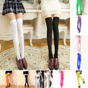 Womens Knit Thigh High Socks Over Knee Candy Color School Girl COS Maid Socking