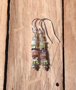 NEW: Sundance Catalog inspired gemstone tier drop earrings: peridot & aquamarine