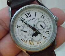 "Titan Quartz India  Moon Phase Designer Men' Watch 38MM Brown Band 9"""
