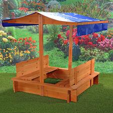 Sandkasten Sandbox Sandkiste mit Dach/Deckel und 2 Sitzbänken Blau Holz Sand