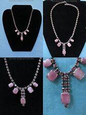 Vintage 50s 60s Pink Cabochon Rhinestone Adjustable Necklace Pendant Prong Set