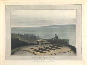 Lower Haysham Lancashire view by William Daniell c1816 original aquatint print