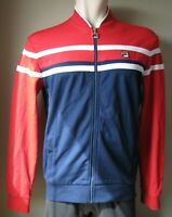 FILA Men's NASO Jacket Red Navy White Stripe Track Active Full Zip Casual Size M