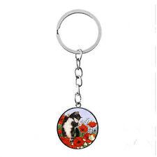 Vintage Glass photo Cabochon charm silver Matal Key RING(Poppy flower,Lazy cat)