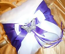 WEDDING RING BEARER PILLOW CUSHION flower girl purple ultra violet butterfly box