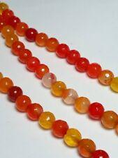 10pcs Agate Dyed Yellow Orange Red Gemstone Faceted Beads (Grade B) 6mm B34148