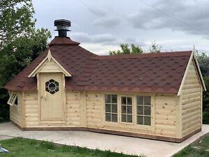 9.2m2 + 2m (3,8m2) Extension Grillkota Grill Cabin BBQ Hut Log House Garden