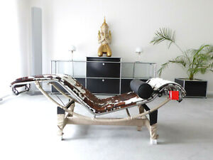 Cassina Le Corbusier LC 4 Liege Fell gefleckt Chrom, Top, inkl. MwSt.!