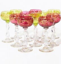 Set Of 11 Antique French Saint Louis Chanteuse Ruby Red Gilded Wine Glasses