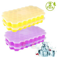 2X Silicone Ice Cube Mold Tray 74Grids Square Mould Ice Cube Ball Maker DIY Mold