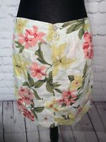 Tommy Bahama Relax 100% Linen White Rain Floral Print Skirt Size 2 MSRP $98