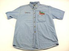 TODD BODINE Vintage team Tabasco racing short sleeve button front denim shirt(B)