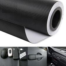 "50""x16"" Black Carbon Fiber Vinyl Auto Car Wrap Roll Film Sticker 127cm*40cm DIY"