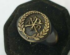 CHI-RO   Ancient Bronze    Ring-Vintage-Antique ROMAN-BRONZE-RARE