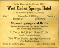 Advertising West Baden Indiana Resort Springs Hotel Mineral Springs & Baths 1920