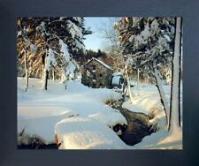 Wayside Inn Mill - Winter Landscape Nature Scenery Wall Decor Framed Picture