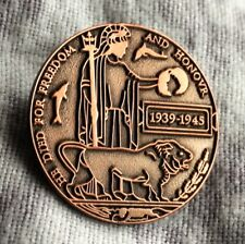 DEATH PLAQUE DEAD MAN'S PENNY WAR SOLDIER 2018 POPPY DAY BADGE FREEDOM & HONOUR