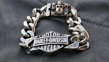 Herren Edelstahl Harley Davidson Biker Armband Skull Schmuck 21cm Silbern NEU