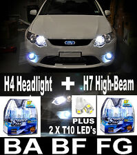 55W WHITE Headlight Bulbs H4 H7 Halogen T10 LED Lights FALCON BA BF FG XR6 XR8