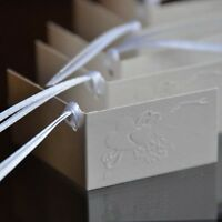 Set of 10 White Embossed Heart & Ribbon Favor Tags Gift Tags Name Cards