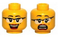 LEGO - Minifig, Head Female Glasses w/ Black Frames - Laughing / Scared
