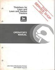 John Deere Thatchers Lawn Garden Tractors Dealer Service Shop Operators Manual
