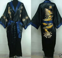 green Double-face Chinese men/'s silk Dragon embroidery bathrobe robe//gown