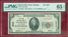 1929 $20.00 National Currency-PMG 65-Union National Bank of Sistersville, W.V.