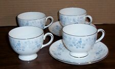 LOT OF 4 WEDGWOOD BELLE FLEUR CUPS AND 2 SAUCERS PLATINUM TRIM MADE  ENGLAND