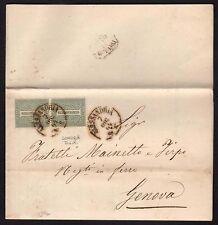 STORIA POSTALE Regno 1864 Piego da Alessandria a Genova (BLT)