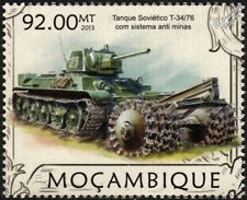 WWII Soviet Russian Red Army T-34/76 (PT1) Mine-Trawl Medium Tank Stamp (2013)