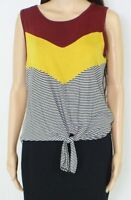 Moa Moa Women's Tank Top Red Multi Size Small S Colorblock Tie-Front $29 #288
