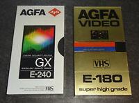 AGFA Super HGX E-180 / GX E-240 VHS Kassette VINTAGE TAPE SEALED NEU & OVP TOP