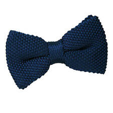 DQT Knit Knitted Plain Solid Navy Blue Classic Mens Pre-Tied Bow Tie