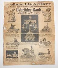 Weihnachts Preisliste Gebrüder Rauh Gräfrath bei Solingen um 1910 Spielzeug CBS
