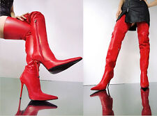 CQ COUTURE CUSTOM SEXY OVERKNEE BOOTS STIEFEL BOTAS ZAPATOS LEATHER ROJO 38