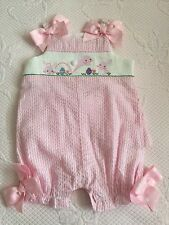 Mud Pie pink striped EASTER COTTONTAIL bunny smocked bubble romper 0-6 Months