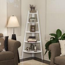 White Five-Tier Corner Wooden Ladder Display Bookshelf Unit-DanyaB™