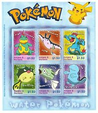 Water Pokemon Postage Stamp Sheet of 6 Stamps Antigua and Barbuda