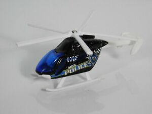 Matchbox Airblade 2009 Mattel Black Blue White Police Helicopter Scale 1:64