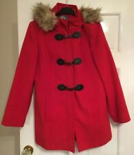 BHS Ladies Winter coat with fur trimmed hood - Size 14 - Worn once - Red