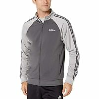 MSRP $55 adidas Essentials Men's 3-Stripes Track Jacket Gray Size Small