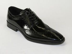 Men Leather Dress Shoes GIOVANNI Oxford Wingtip toe European Ferrara Black