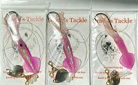 3 Hand Tied Pink Tsunami Fluke (Flounder) Fluorocarbon Fishing Rig