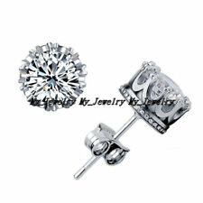 Fashion 925 Sterling Silver Crystal Zirconia Diamante Crown Stud Earrings Prom