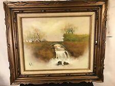 "Painting Oil & Canvas Bridge&waterfall.Signed ""Keifer""28""x24"".C11pix. MAKE OFFER"